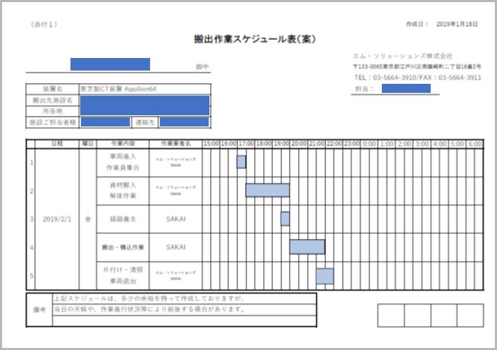 作業スケジュール